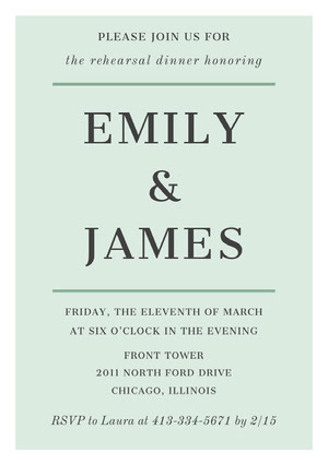 EMILY <BR>& <BR>JAMES  Rehearsal Invitation