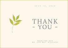 Green Leaf Wedding Thank You Card Wedding Thank You  Card