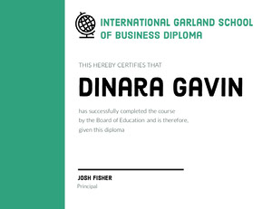 Green School Course Completion Certificate Diploma Certificate