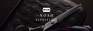 Black and White Barber Shop Banner Banneri