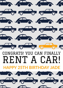 Congrats! You can finally rent a car! Car