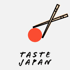 Red Circle and Chopsticks Japanese Food Instagram Square  Japan