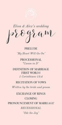 pink rose wedding program  Flowers