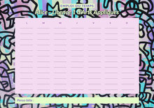 Pink Neon Yellow Paint Art weekly Timetable A4 Planning