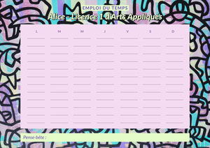 Pink Neon Yellow Paint Art weekly Timetable A4 Planificateur