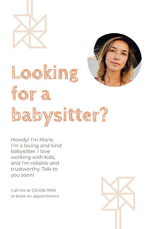 White and Beige Babysitter Flyer Annonce