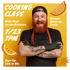 Yellow Illustrated Cooking Class Instagram Square Ad with Smiling Man Photo Tattoo Flyer