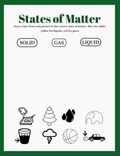 Green State of Matter Worksheet Science