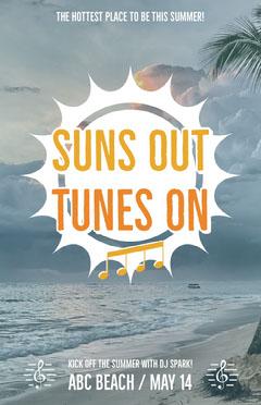 Beach Party Flyer with Sun Beach