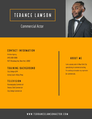 Black and Orange Professional Resume Acting Resume