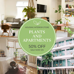Green With Photos Housing Interior Instagram Square Sale Flyer