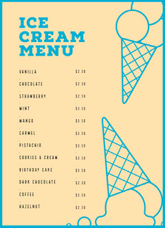 ICE CREAM<BR>MENU Ice Creams