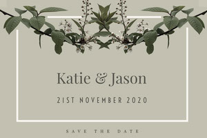 Grey and Green Save The Date Card Save the Date Postcard