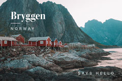 Light Toned Bryggen Norway Greetings Postcard Hello
