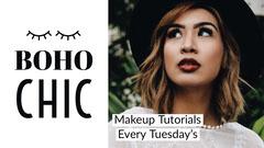 Boho Make Up Tutorial YouTube Thumbnail with Woman Tutorial