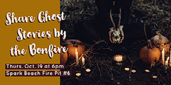 Brown Dark Toned Ghost Stories Event Facebook Banner Ad Scary
