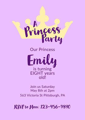 Purple Minimal Princess Invitation Invitation d'anniversaire