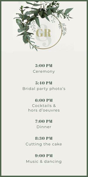 White Monogram Foliage Lgbt Wedding Program Programação de casamento