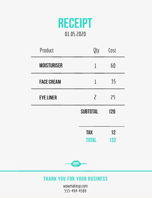 Light Blue Beauty Salon Invoice Faktura