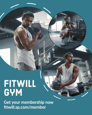 Blue and White Circle Collage Fitwill Gym Instagram Portrait  Sports Collage