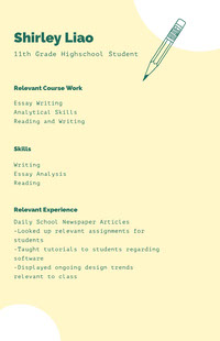 Green and White Professional Resume Curriculum scuola superiore