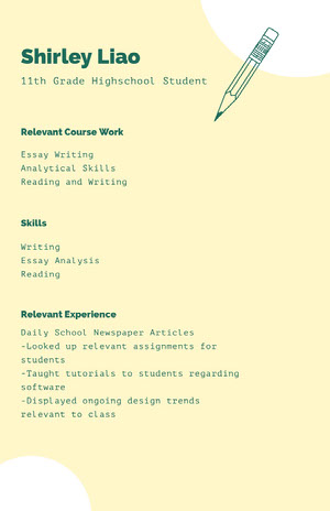 Green and White Professional Resume High School Resume