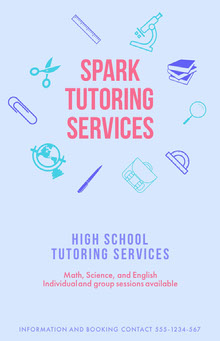 Blue and Pin Spark Tutoring Services Poster School Posters