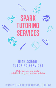 Blue and Pin Spark Tutoring Services Poster Math