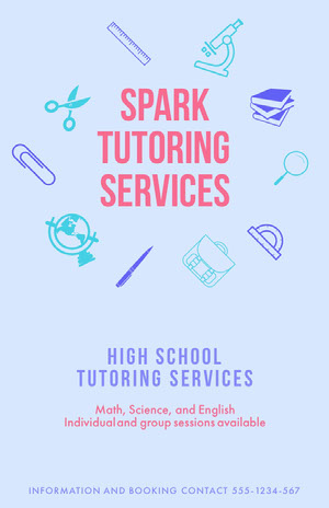Blue and Pin Spark Tutoring Services Poster Pink Flyers