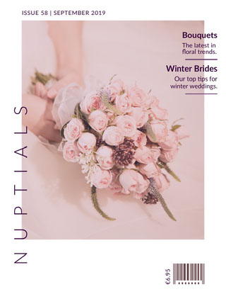 White and Pink Nuptials Magazine Cover 결혼 축하