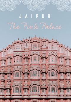 Blue Pink Palace Jaipur Postcard Sky