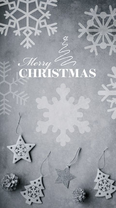 Grey White Snowflakes Decorations Merry Christmas Virtual Card Instagram Story Grey