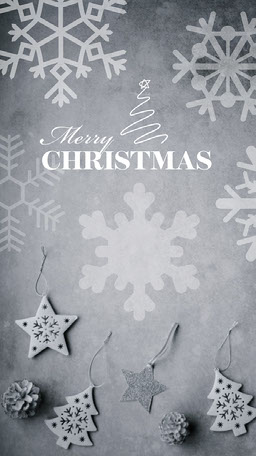 Grey White Snowflakes Decorations Merry Christmas Virtual Card Instagram Story