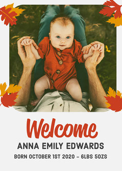 Red & Grey Baby Welcome Card Baby's First Year