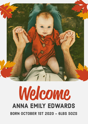Red & Grey Baby Welcome Card Welcome Card Messages
