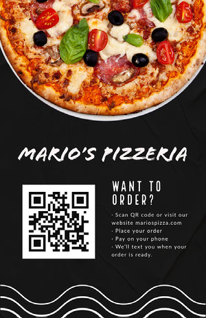 pizzeria QR code poster COVID-19 Re-opening