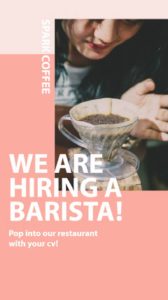WE ARE HIRING A BARISTA! Now Hiring Flyer