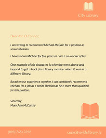 Orange and Yellow Librarian Recommendation Letter Lettera
