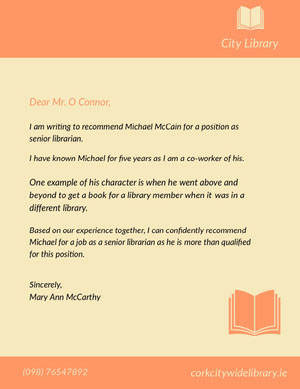 Orange and Yellow Librarian Recommendation Letter Carta de recomendación