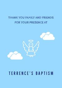 TERRENCE'S BAPTISM Convite de batizado