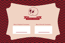Pink Spooky Season Skull Halloween Party Costume Card Scary