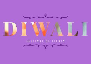 Violet and White Diwali Card Diwali