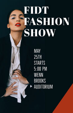 Black Fashion Show Flyer with Fashion Model Fashion Show
