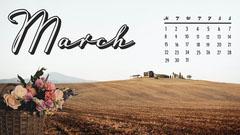 Fields March Calendar Wallpaper Spring