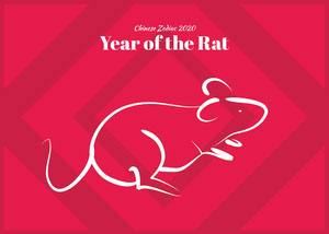 Red and White Chinese Zodiac Sign Card Chinese New Year