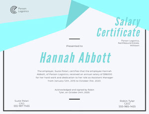 Light Blue Geometric Salary Certificate Certificat