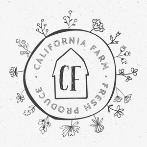 Black and White Barn, Flowers and Circle Store Instagram Square Logo Logo Circulaire