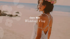 Wedding Vlog Youtube Channel Art Banner with Bride on Beach Dress