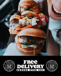 black and white free delivery instagram portrait  Burger