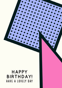 Light Toned Pink, Blue and Black Birthday Card  誕生日カード